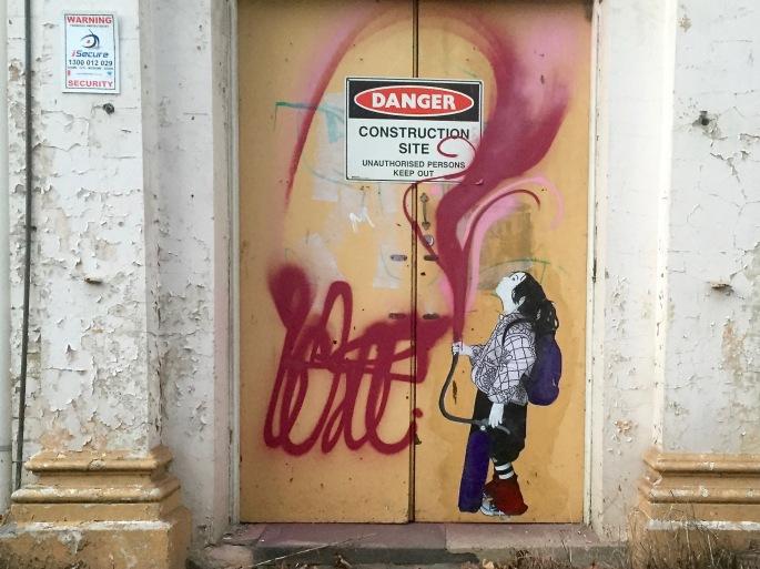 Street art poster - girl painting