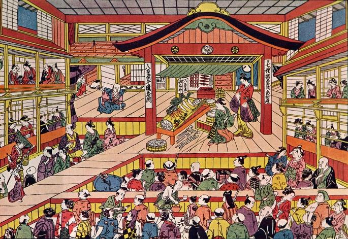 Shibai Ukie by Masanobu Okumura, depicting the Kabuki theater Ichimura-za in its early days.